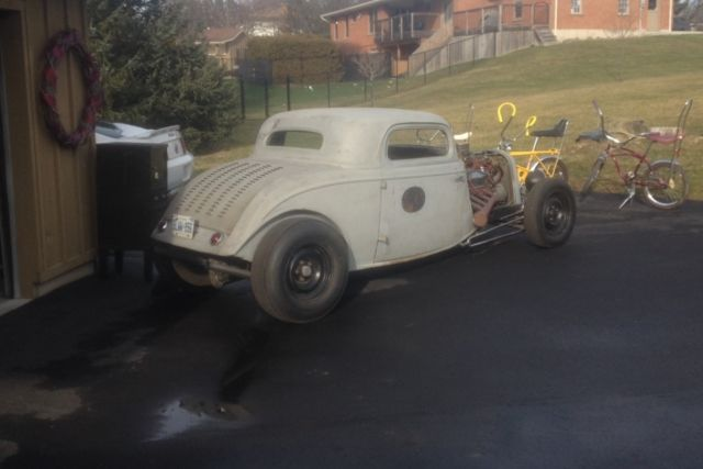 1934 ford 3 window coupe chopped and channeled done in lead