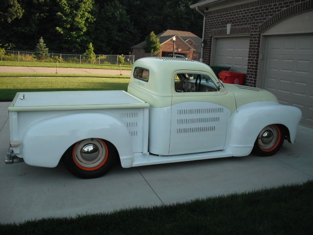 56165 in addition Video Traditional 1930 Ford Model A Pickup 1 Hmrd A likewise 1601 Eric Gonsalves 1951 Chevrolet 3100 Was Built Quick And Cheap moreover 290296 1950 Chevy Truck Total Custom Hot Rod Street Rod Truck Trun Key furthermore 37946 1958 Apache Drag Truck Tribute Pro Street Bagged. on chevy truck steering column
