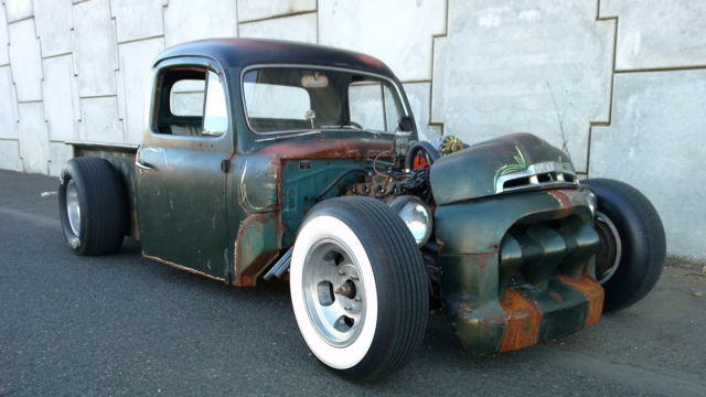 1951 Ford F1 Air Ride Rat Rod 350 AUTO - YouTube