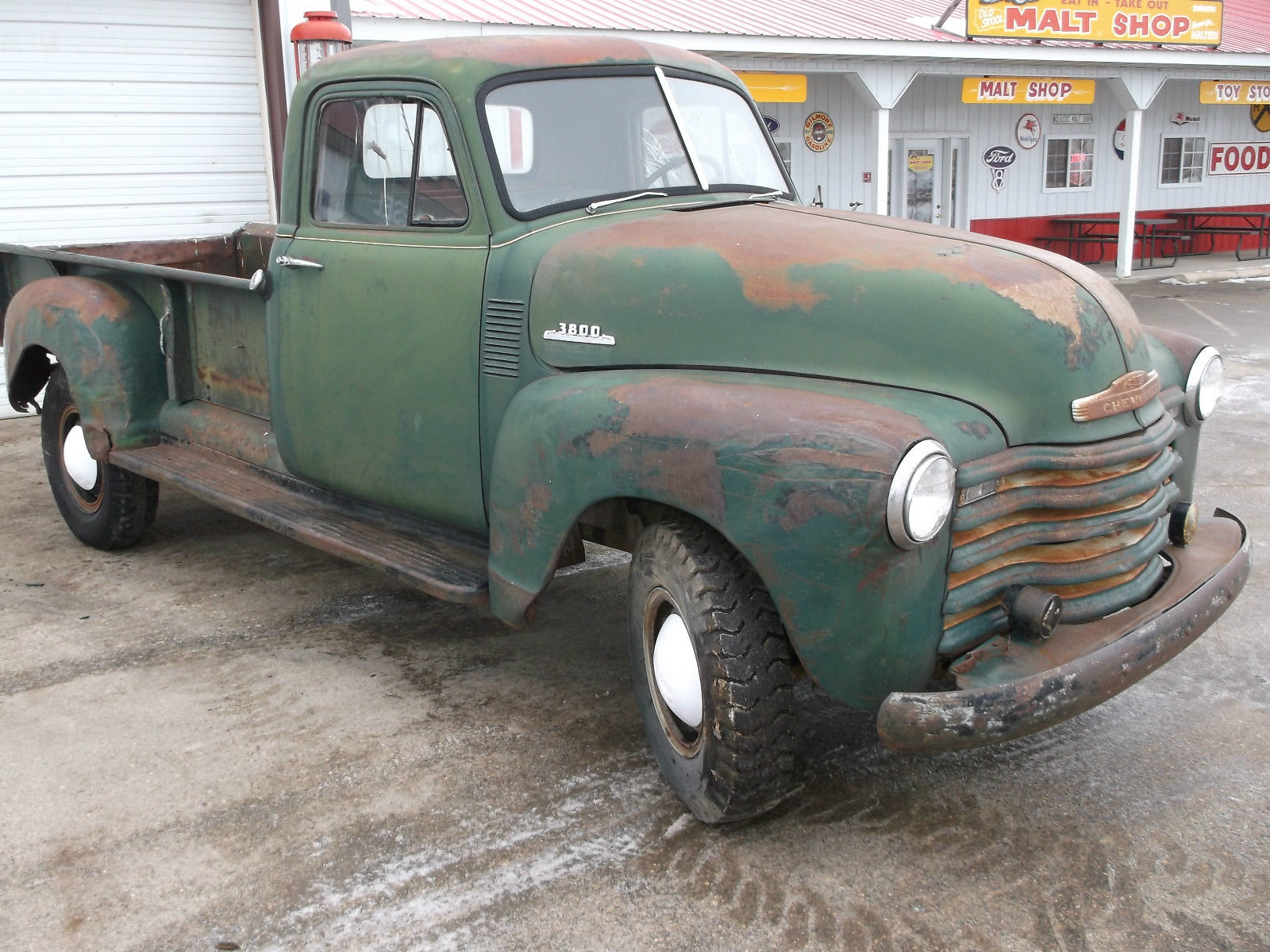 1953 chevy pickup truck 3800 model rare 9 foot box original farm truck rat rod. Black Bedroom Furniture Sets. Home Design Ideas