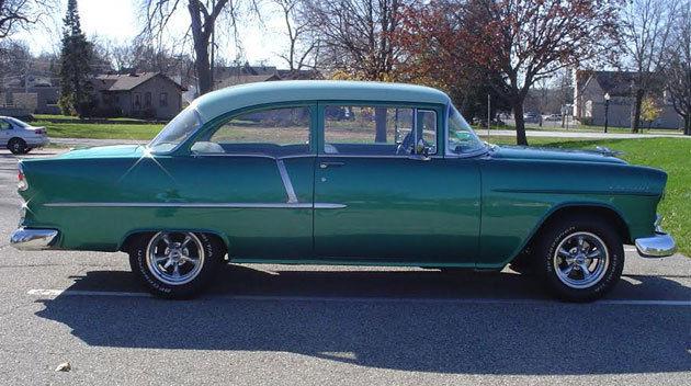1955 Chevy Bel Air 2 Door Post Car Sea Mist Green Fresh Restoration