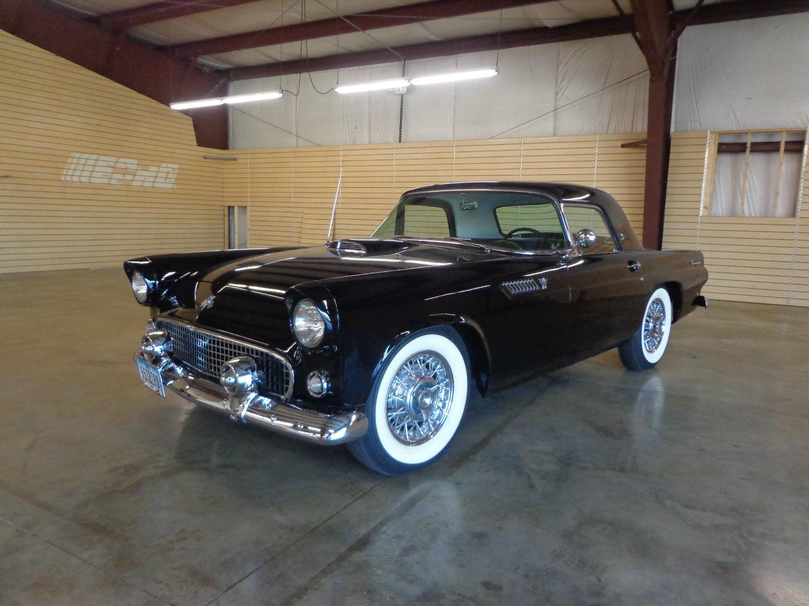 1955 ford thunderbird hardtop convertible 3 speed manual transmission black. Black Bedroom Furniture Sets. Home Design Ideas