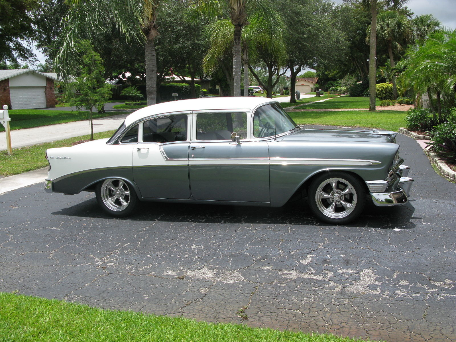 1956 Bel Air 4 Door Sedan Resto Mod Grey and White two tone Restored