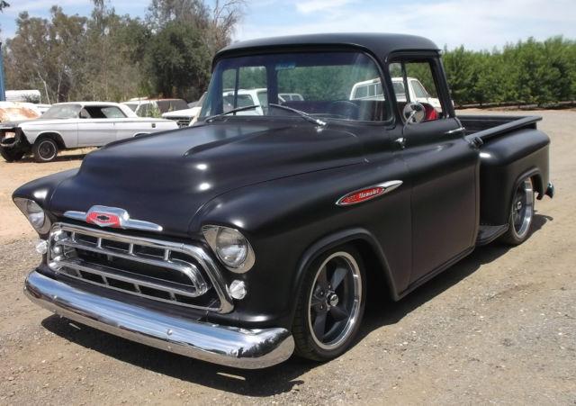 1957 chevrolet truck 3100 big window short bed hot rod black chevy 1 2 ton. Black Bedroom Furniture Sets. Home Design Ideas