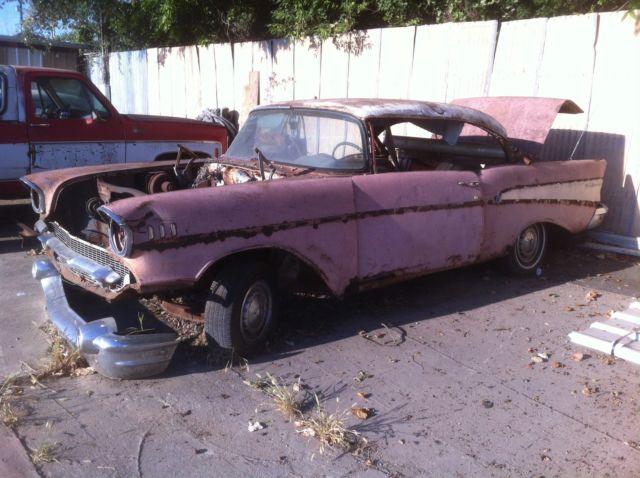 1957 chevy belair 2 dr hdtp needs total restoration factory pink car