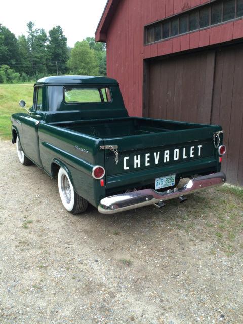 1958 Chevy Apache 3100 Fleetside Short Bed 12 Ton Pickup 58 283 V8