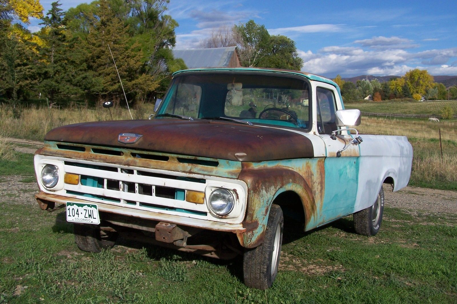 1961 Ford F100 Unibody Long Bed With Bumpers Good Glass 1963 1964 Pickup Truck 1965 1966