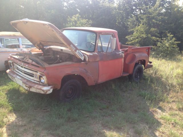 1962 Ford F100 Pickup Truck 6 Cyl Motor As Is Original Good Oklahoma Le