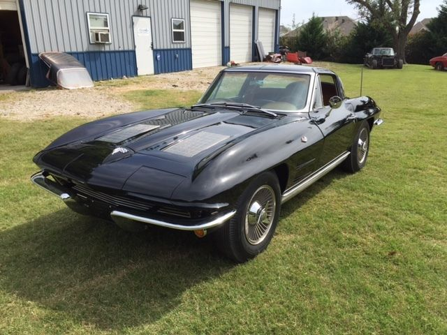 1963 corvette coupe split window black on tan 340hp. Black Bedroom Furniture Sets. Home Design Ideas