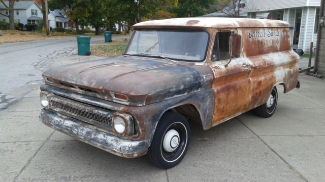 1965 chevy panel truck suburban patina straight 6 3 on tree drive it home. Black Bedroom Furniture Sets. Home Design Ideas