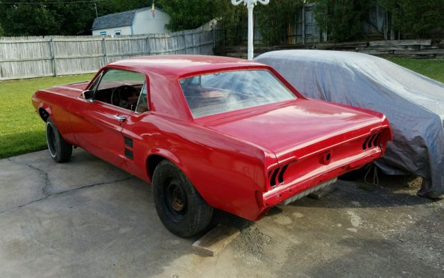 1967 Red Ford Mustang Coupe Rolling Project