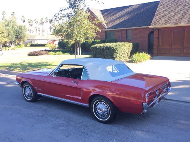 1968 ford mustang convertible v8 289 2v shelby fastback cobra mach 1 gt 390 boss. Black Bedroom Furniture Sets. Home Design Ideas