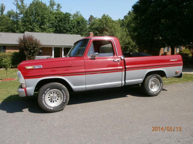 1969 ford f100 ranger short bed pick up truck red gray paint older custom. Black Bedroom Furniture Sets. Home Design Ideas