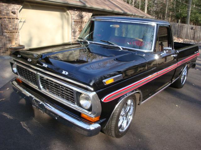 1970 ford f 100 pickup ranger xlt 2wd shortbox black restored. Black Bedroom Furniture Sets. Home Design Ideas