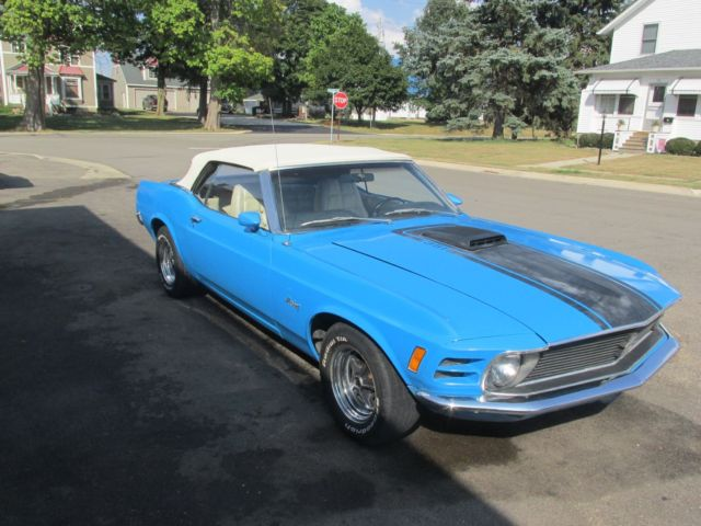 1970 ford mustang convertible 351 shaker hood grabber blue. Black Bedroom Furniture Sets. Home Design Ideas
