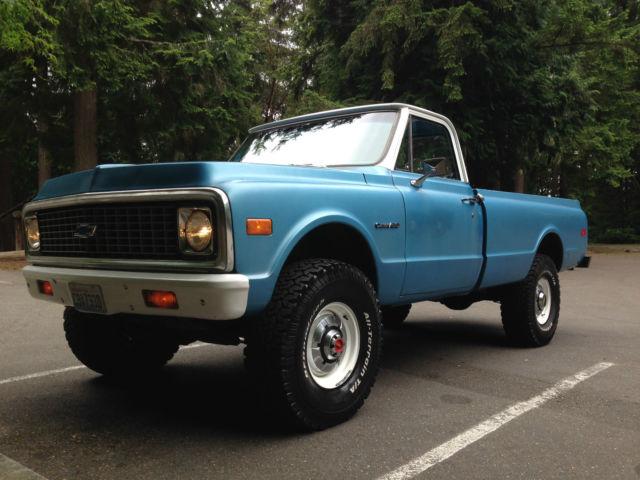 1972 chevy truck 3 4 ton factory k20 4x4 solid 350 auto tilt disc 35 tires. Black Bedroom Furniture Sets. Home Design Ideas