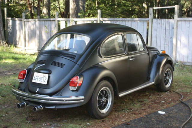 1972 vw super beetle bug satin black good weekend car. Black Bedroom Furniture Sets. Home Design Ideas