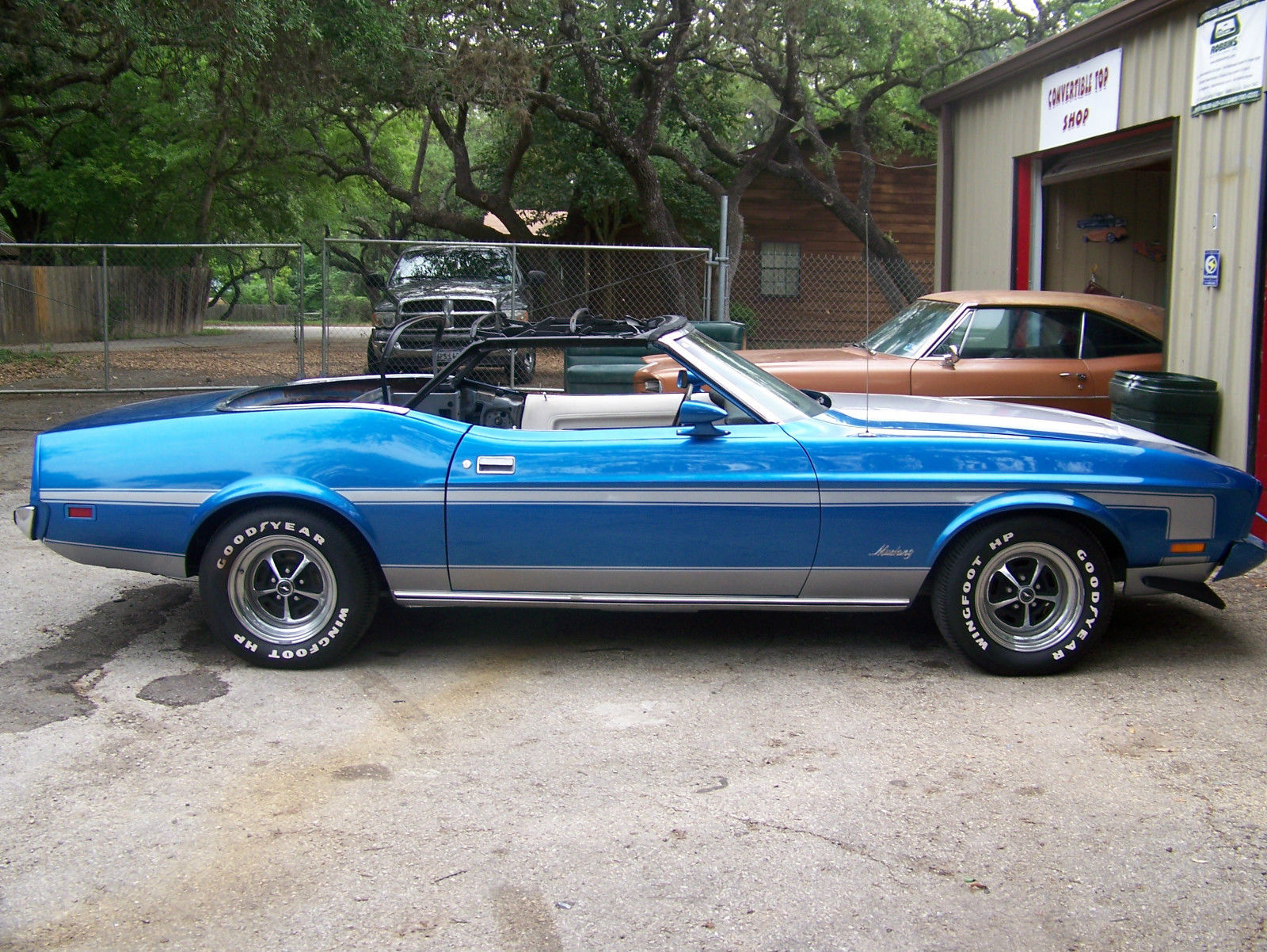 1973 Ford Mustang Convertible Blue And Silver Ac White Interior And Top