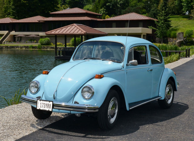 1974 74 vw volkswagen classic beetle bug baby blue auto stick. Black Bedroom Furniture Sets. Home Design Ideas