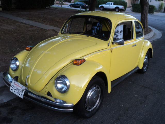 1974 vw bug beetle yellow standard bug manual transmission nice look. Black Bedroom Furniture Sets. Home Design Ideas