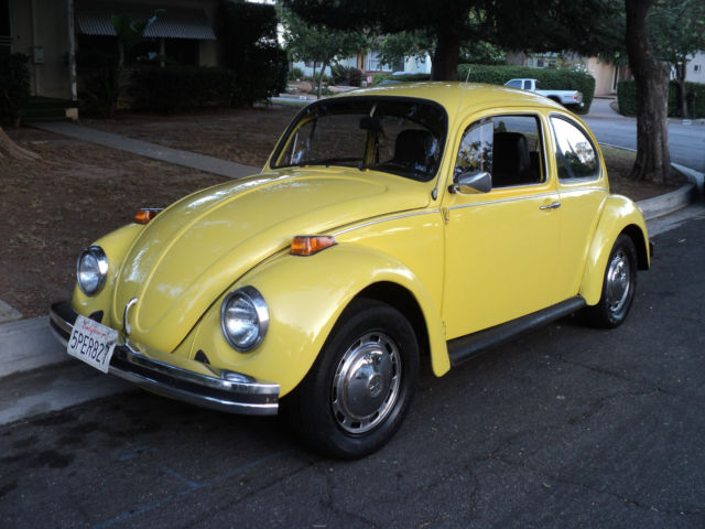 1974 vw bug beetle yellow standard bug manual transmission nice look. Black Bedroom Furniture Sets. Home Design Ideas