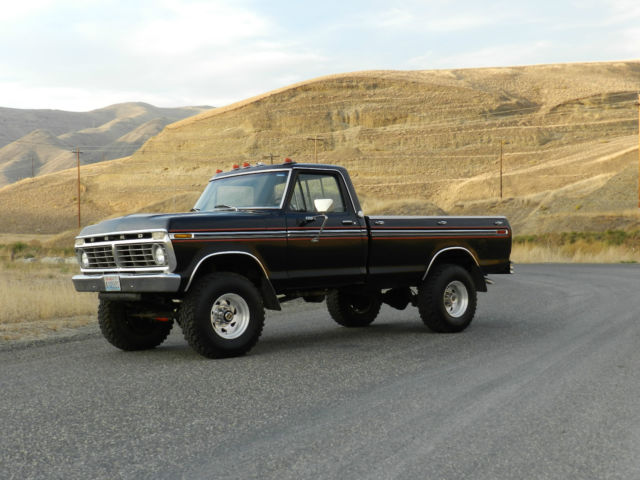 1975 ford f 250 highboy 4x4 a must see 50 pictures 428v8 35 tires black classic. Black Bedroom Furniture Sets. Home Design Ideas