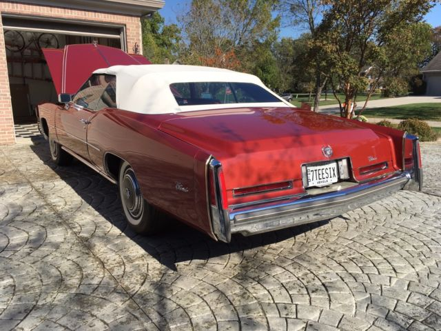 1976 cadillac eldorado convertible red red leather. Black Bedroom Furniture Sets. Home Design Ideas