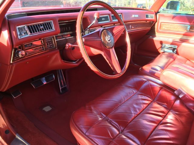 1976 Cadillac Eldorado Convertible Red Red Leather Interior White Top