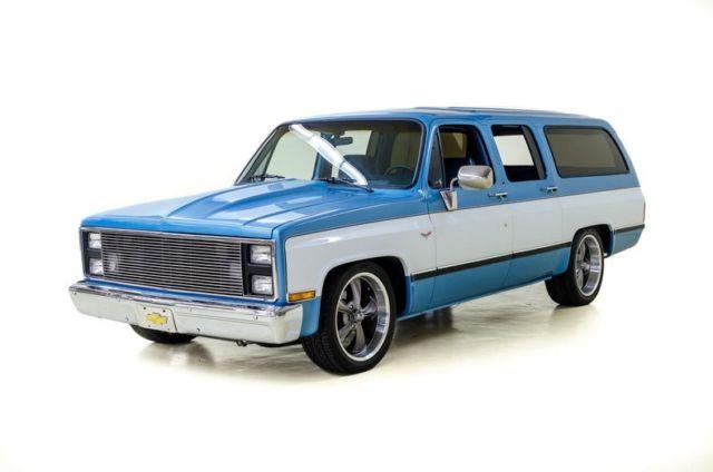 1985 chevrolet suburban 14510 miles blue white suv 350 c i 3 spd auto w od. Black Bedroom Furniture Sets. Home Design Ideas
