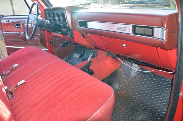 1987 gmc high sierra 4x4 red swb fleet side