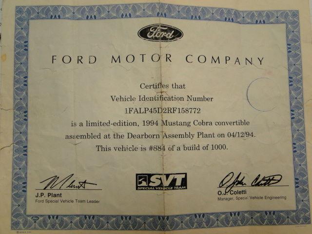 1994 Ford Mustang Cobra Convertible, 5L V8 32V, Manual REBUILT