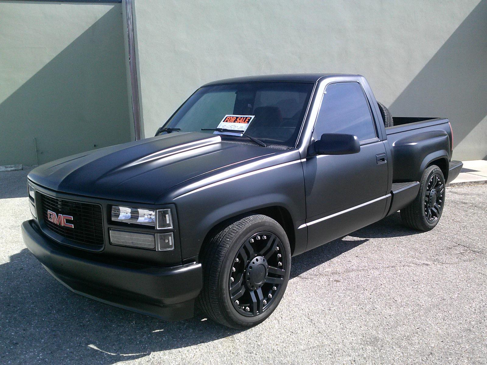 1994 gmc sierra sle stepside custom pickup 1500 20 39 wheels lowered rat rod black. Black Bedroom Furniture Sets. Home Design Ideas