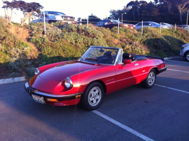 alfa romeo spider veloce red convertible 1987. Black Bedroom Furniture Sets. Home Design Ideas