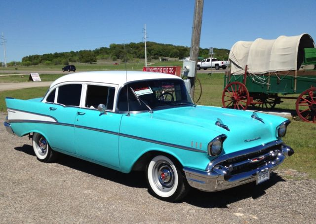 Beautiful turquoise and white 1957 chevrolet 210 4 door for 1957 chevy 210 4 door