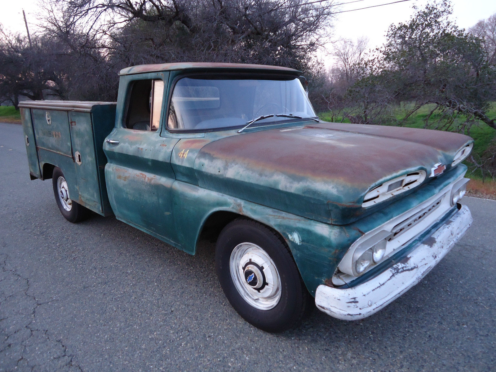 california native 1961 chevy utility bed truck with natural patina for sale in lincoln. Black Bedroom Furniture Sets. Home Design Ideas