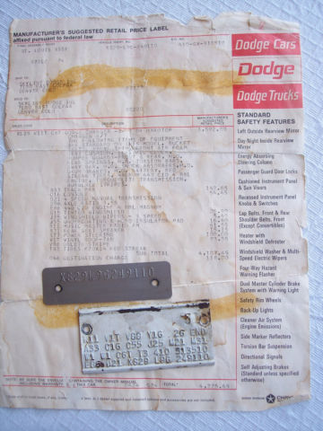 Dodge Charger R T 4 Speed Dana Window Sticker Numbers