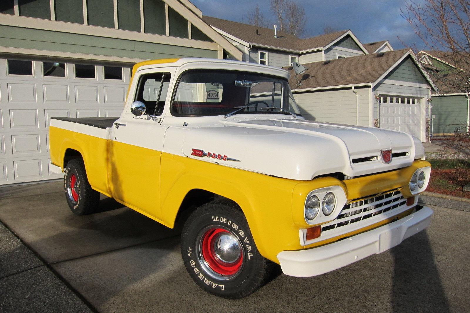 F100 Hotrod V8 Pickup Truck Shortbed Styleside Classic Yellow White 1955 Ford Headliner 57 58 59 60