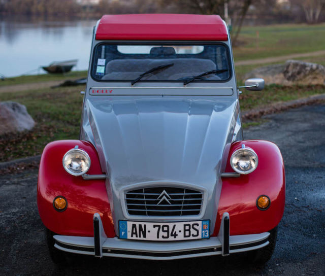 Fully-Restored Authentic Red/Gray Citroen 2cv Dolly