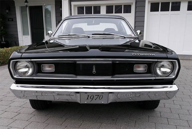 plymouth duster h code 340 4 speed triple black stunning rare example must see. Black Bedroom Furniture Sets. Home Design Ideas
