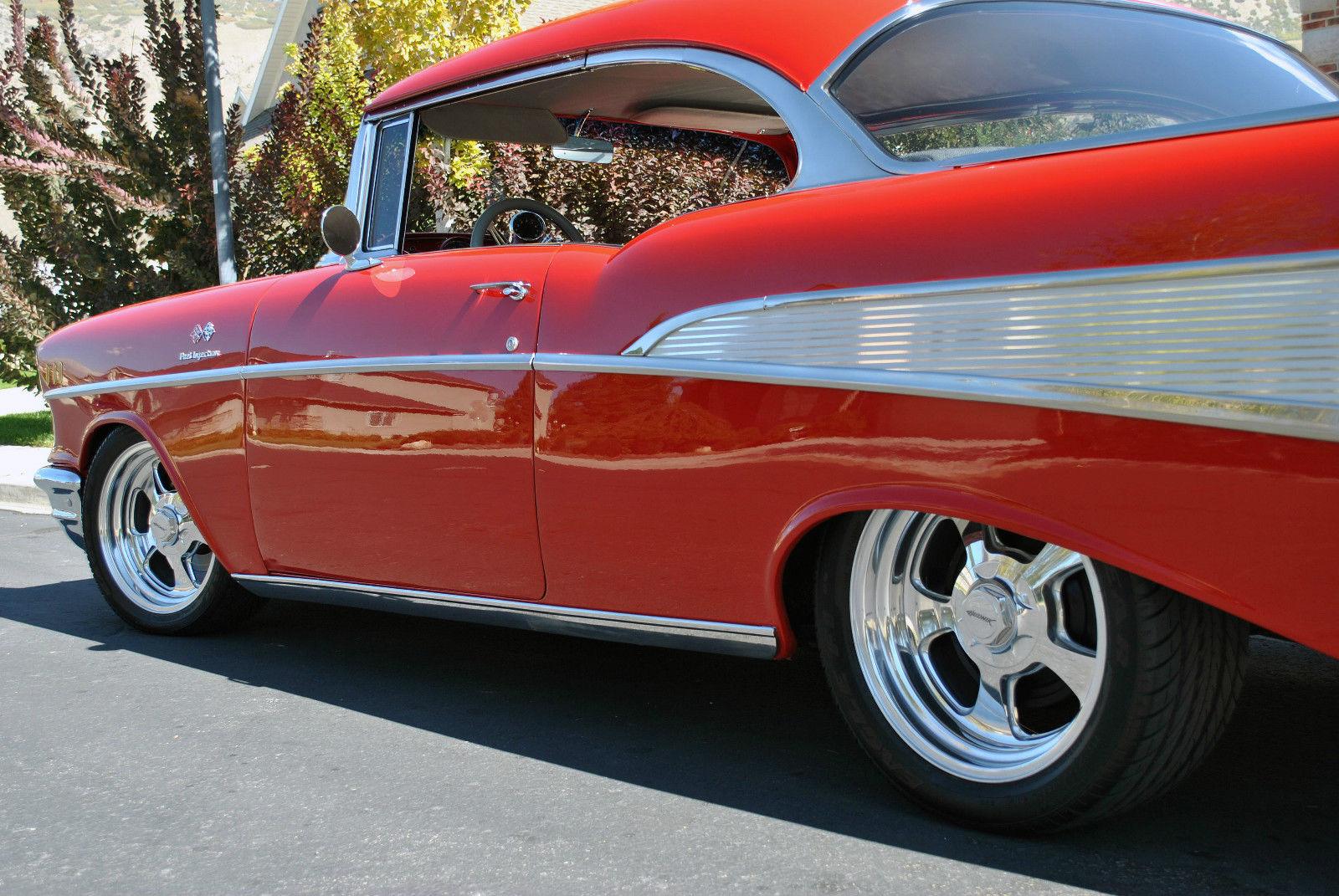 red for the holidays this santa 39 s cruiser 57 chevy bel air ready for a big bow. Black Bedroom Furniture Sets. Home Design Ideas