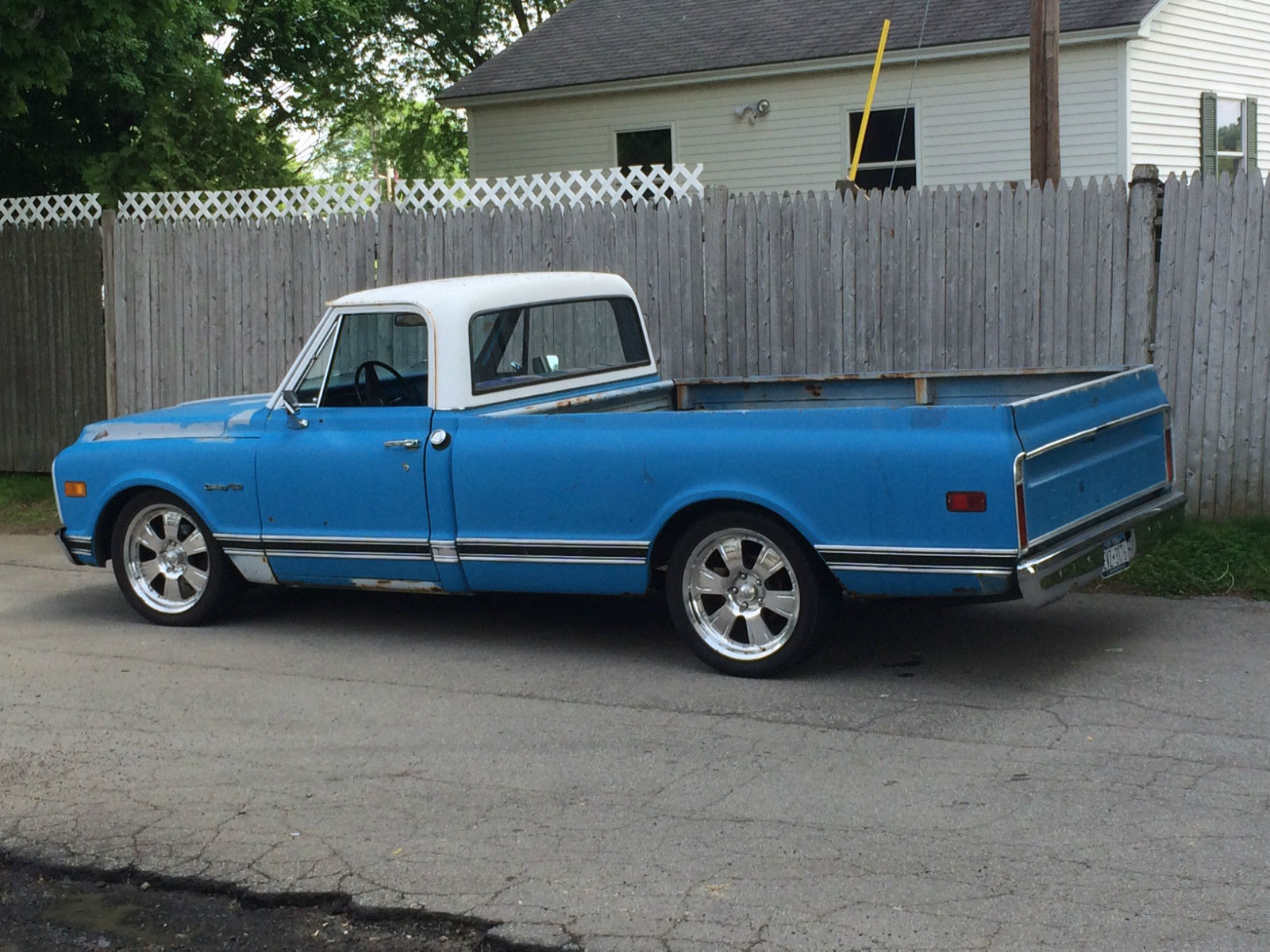 solid c10 longbed new 327ci lowered on 20 s awesome truck