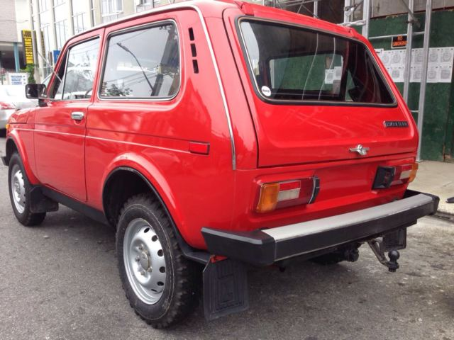 Vaz Niva Lada Red X Russian Suv on Zil Russian Car 1980