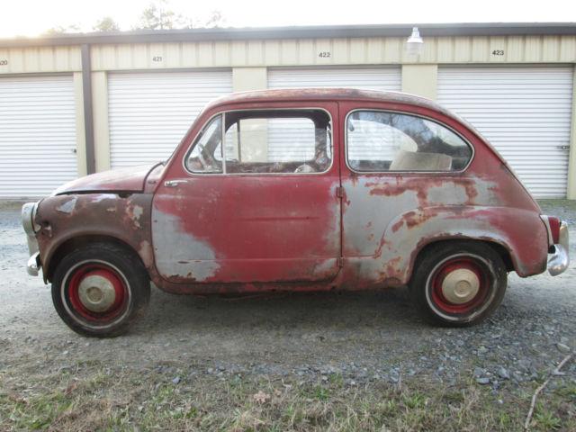 Vintage 1961 Fiat 600d Sedan Barn Find All Original Micro Car